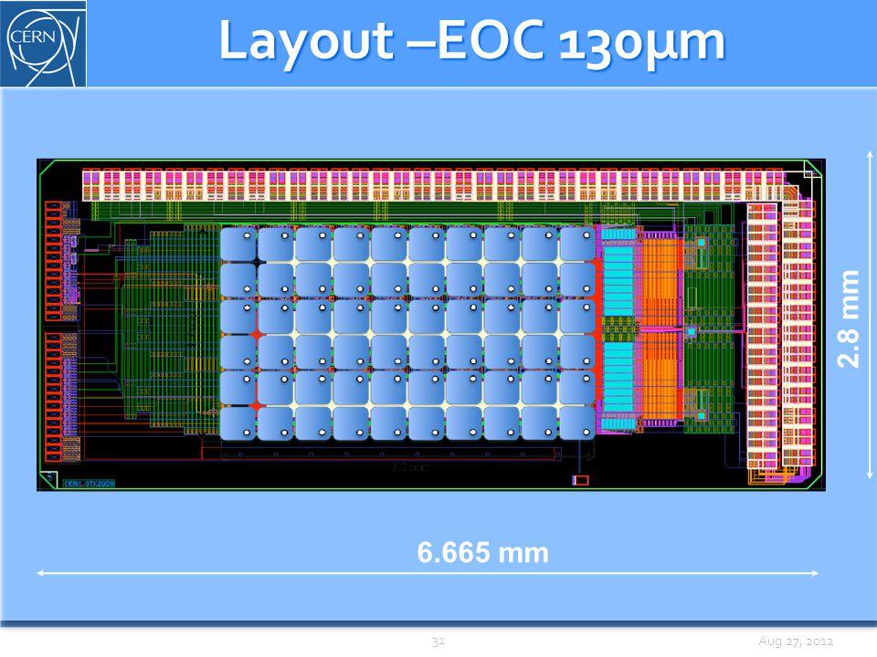 Aug 27, 2012 Layout –EOC 130µm 6.665 mm 2.8 mm 31
