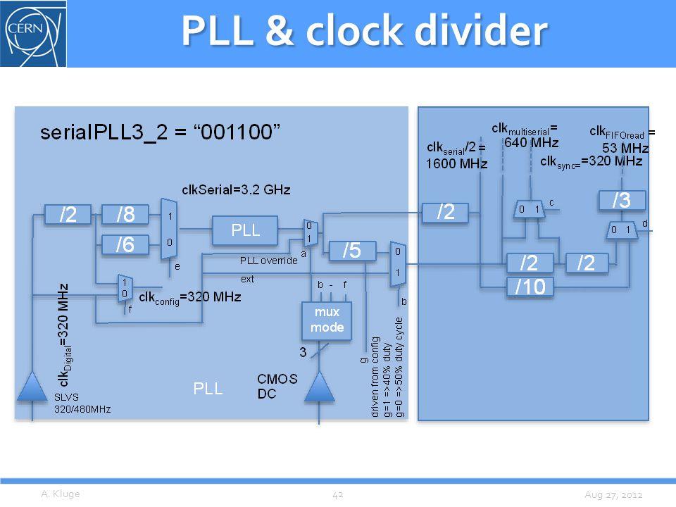 Aug 27, 2012 PLL & clock divider A. Kluge42
