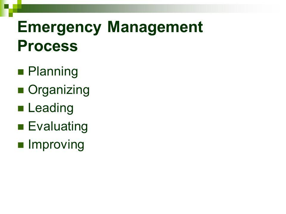 Emergency Management Process Planning Organizing Leading Evaluating Improving