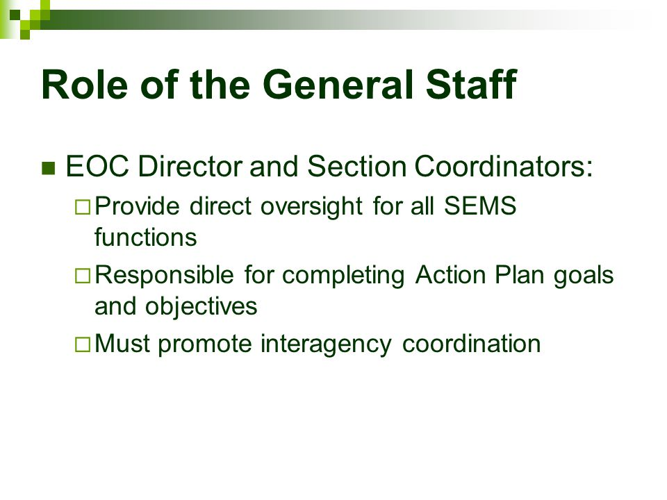 Role of the General Staff EOC Director and Section Coordinators:  Provide direct oversight for all SEMS functions  Responsible for completing Action
