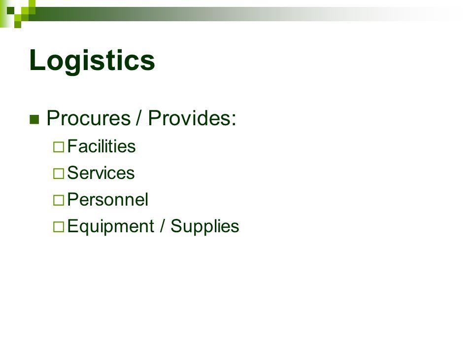 Logistics Procures / Provides:  Facilities  Services  Personnel  Equipment / Supplies