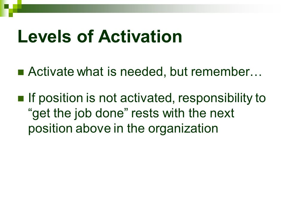"""Levels of Activation Activate what is needed, but remember… If position is not activated, responsibility to """"get the job done"""" rests with the next pos"""