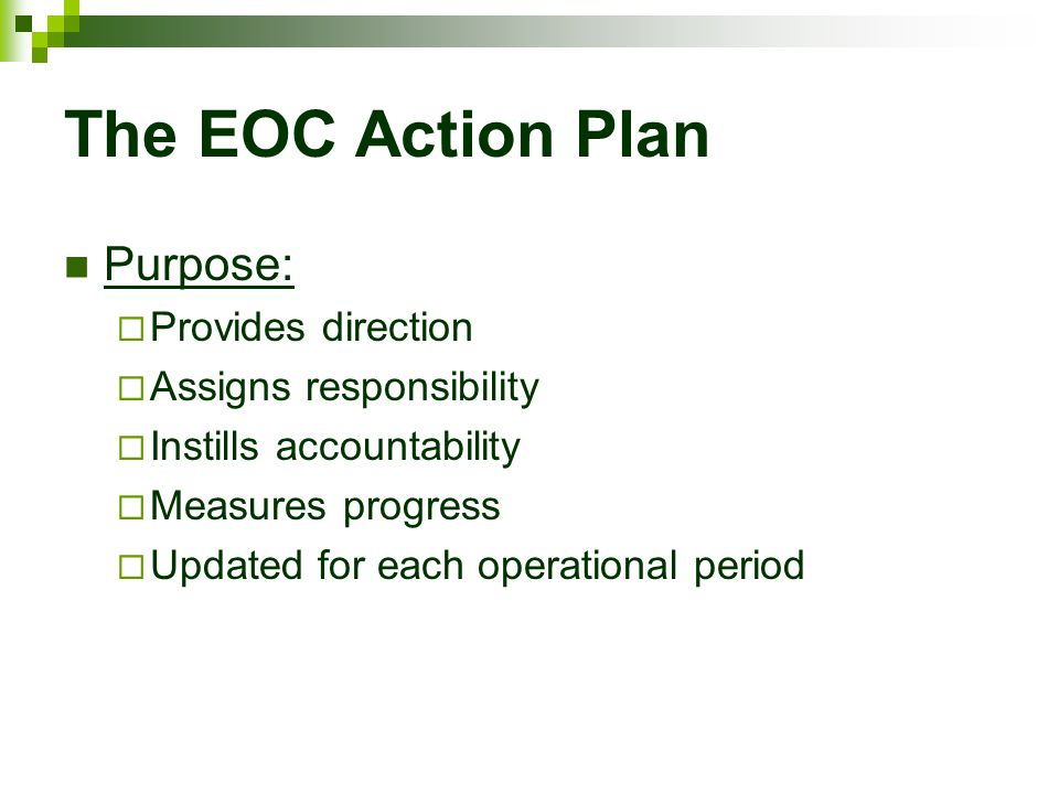 The EOC Action Plan Purpose:  Provides direction  Assigns responsibility  Instills accountability  Measures progress  Updated for each operationa