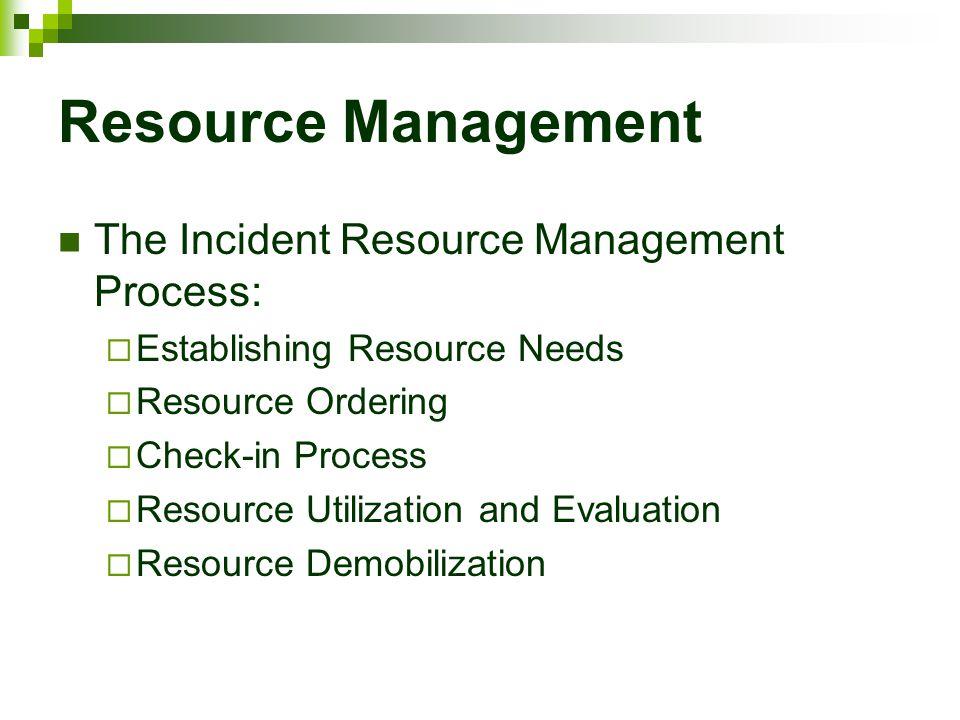Resource Management The Incident Resource Management Process:  Establishing Resource Needs  Resource Ordering  Check-in Process  Resource Utilizat