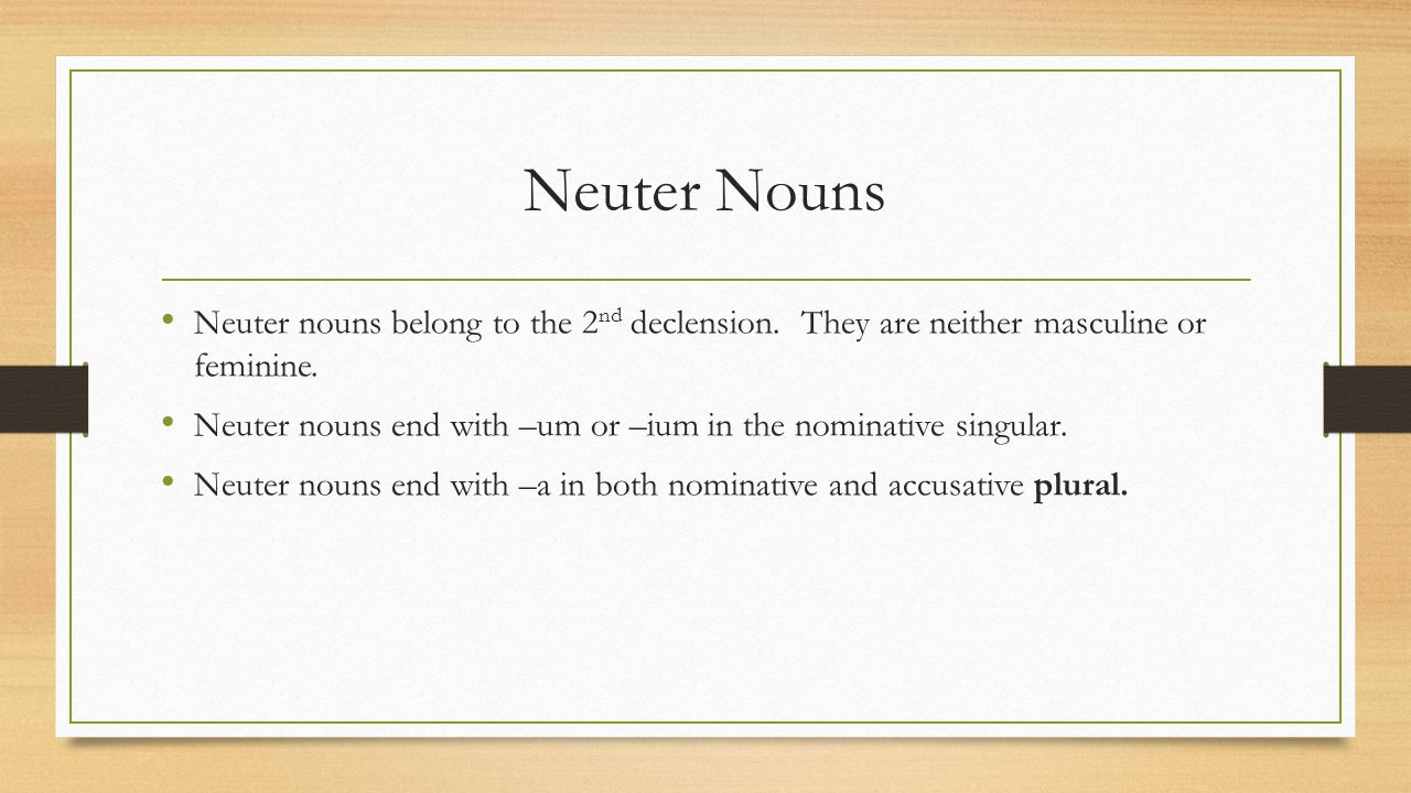 Neuter Nouns Neuter nouns belong to the 2 nd declension. They are neither masculine or feminine. Neuter nouns end with –um or –ium in the nominative s
