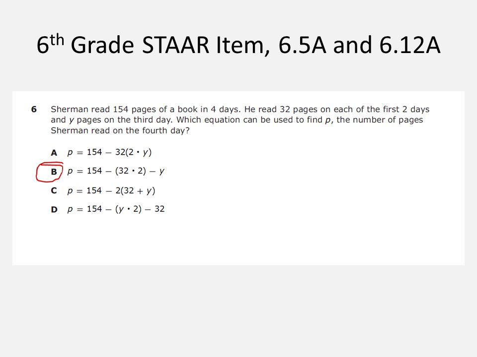 6 th Grade STAAR Item, 6.5A and 6.12A
