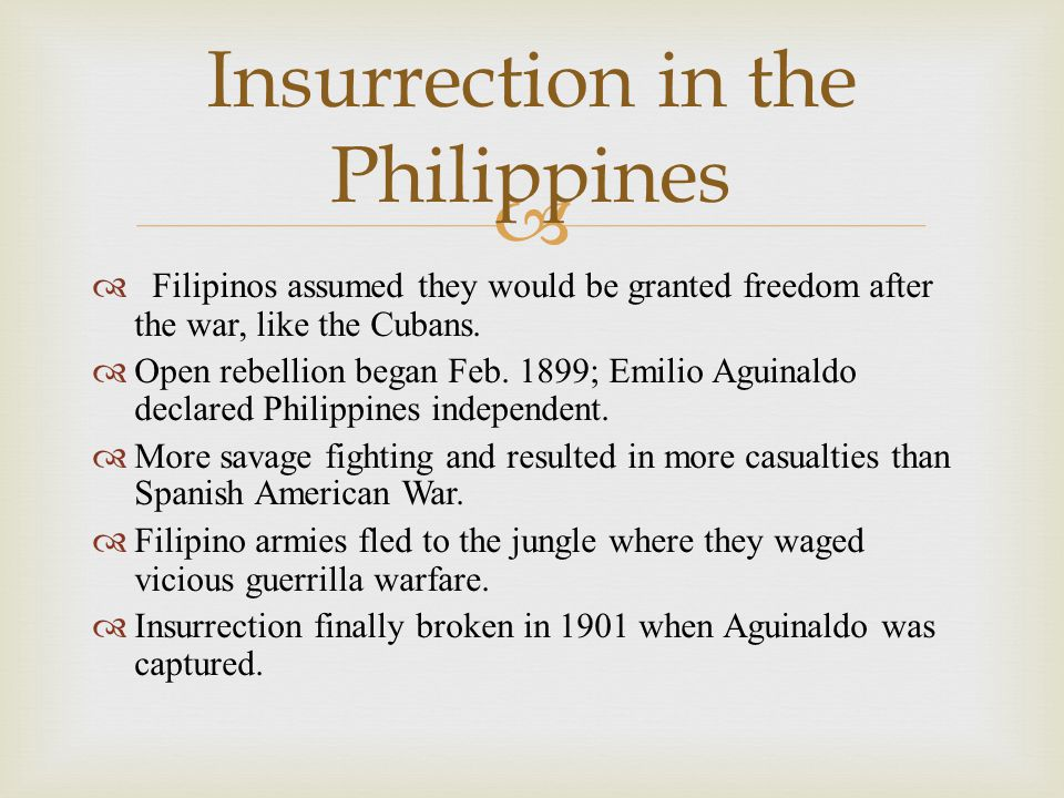  Filipinos assumed they would be granted freedom after the war, like the Cubans.  Open rebellion began Feb. 1899; Emilio Aguinaldo declared Philip