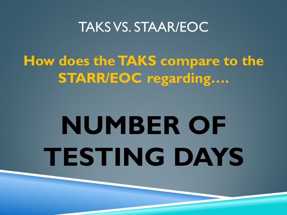TAKS VS. STAAR/EOC How does the TAKS compare to the STARR/EOC regarding…. NUMBER OF TESTING DAYS