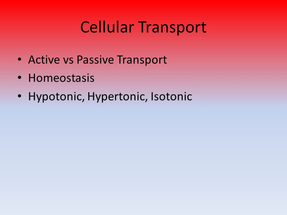 Cellular Transport Active vs Passive Transport Homeostasis Hypotonic, Hypertonic, Isotonic