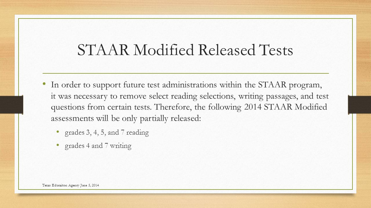 STAAR Modified Released Tests In order to support future test administrations within the STAAR program, it was necessary to remove select reading selections, writing passages, and test questions from certain tests.