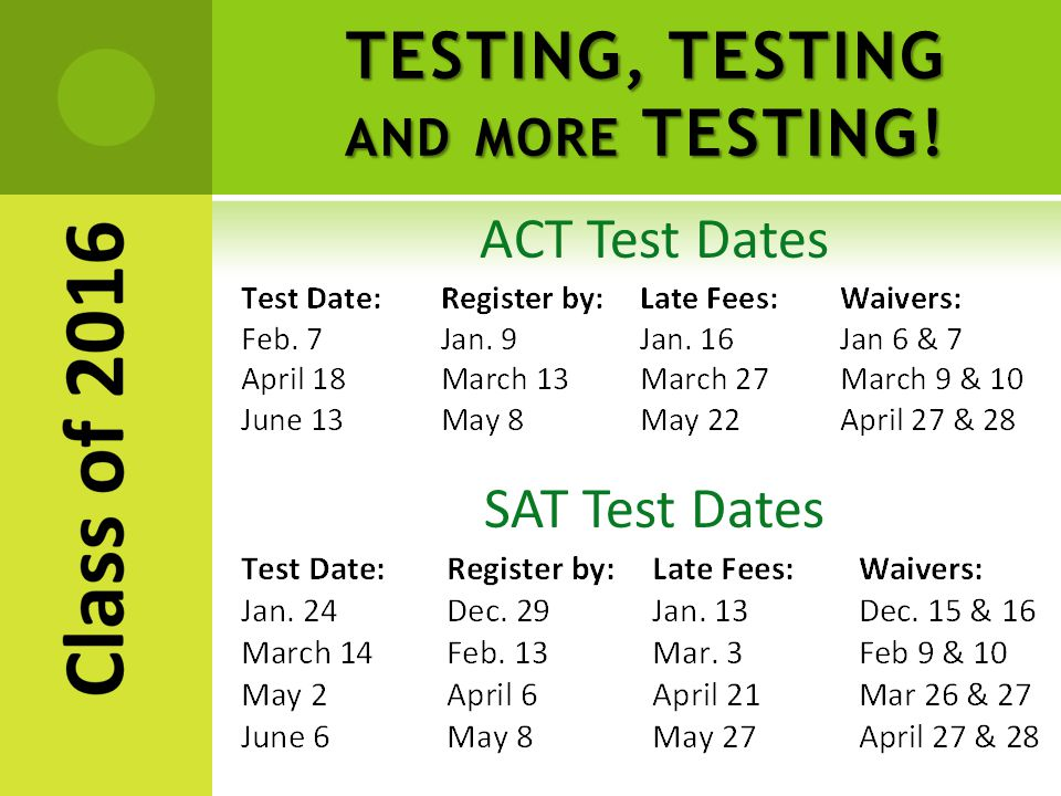 TESTING, TESTING AND MORE TESTING! ACT Test Dates SAT Test Dates