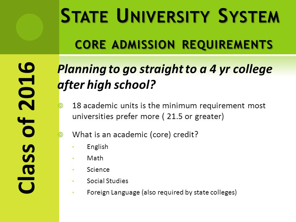 S TATE U NIVERSITY S YSTEM CORE ADMISSION REQUIREMENTS Planning to go straight to a 4 yr college after high school.