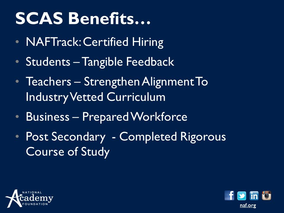 naf.org NAFTrack: Certified Hiring Students – Tangible Feedback Teachers – Strengthen Alignment To Industry Vetted Curriculum Business – Prepared Work