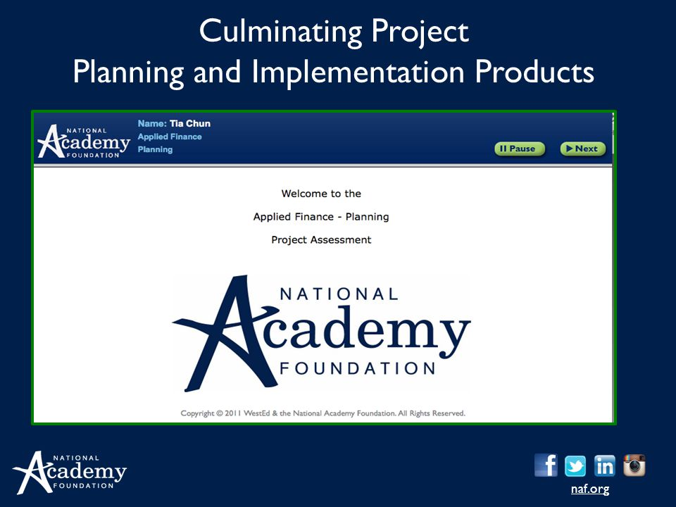 naf.org Culminating Project Planning and Implementation Products