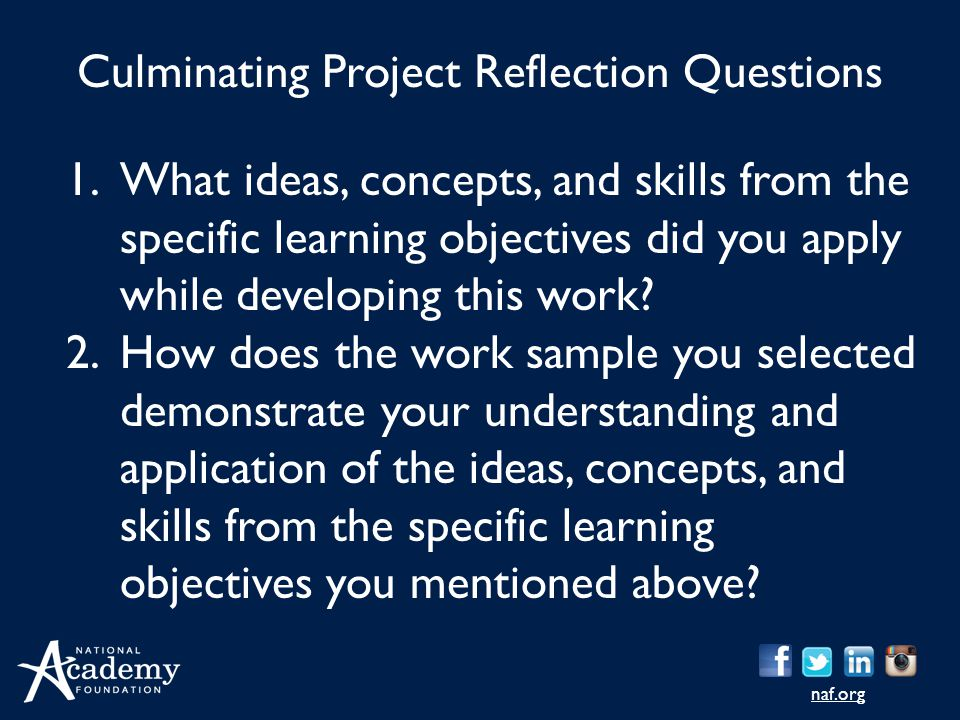 naf.org 1.What ideas, concepts, and skills from the specific learning objectives did you apply while developing this work? 2.How does the work sample