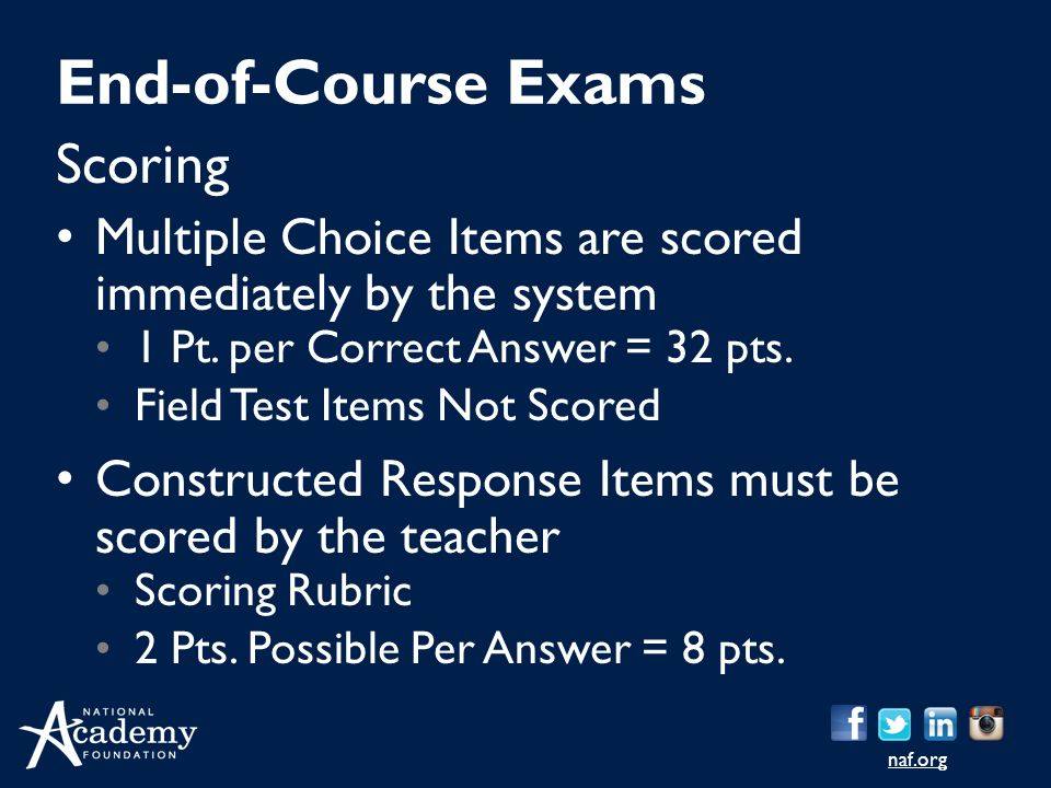 naf.org Scoring Multiple Choice Items are scored immediately by the system 1 Pt. per Correct Answer = 32 pts. Field Test Items Not Scored Constructed
