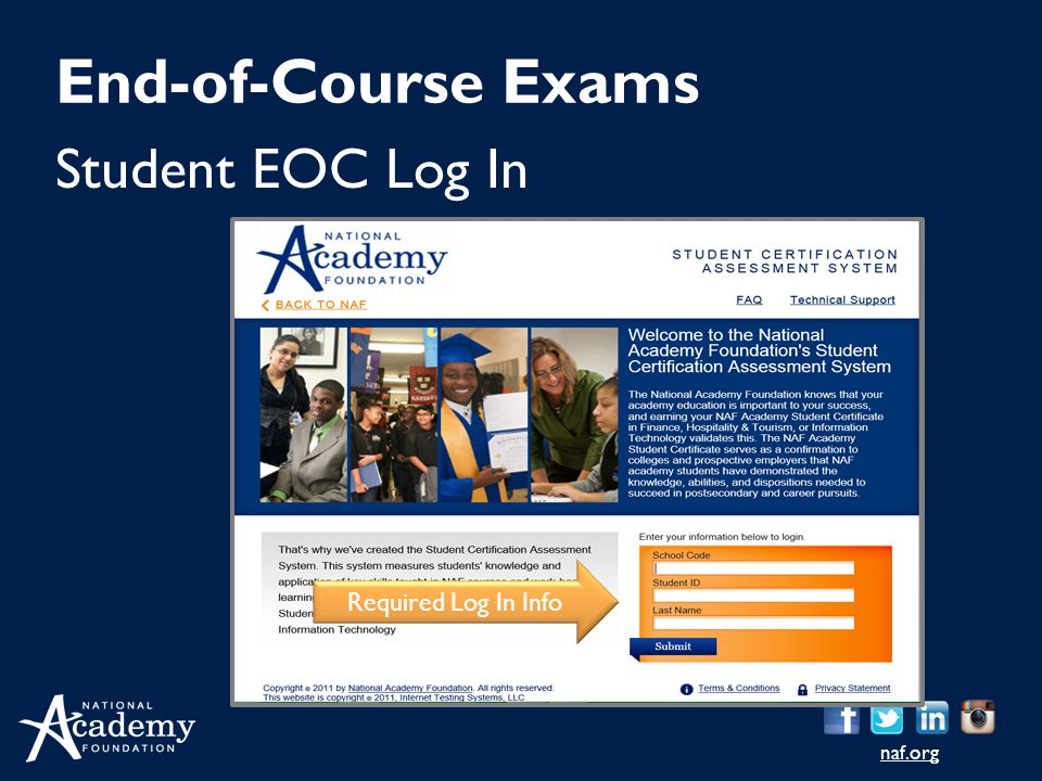 naf.org Student EOC Log In End-of-Course Exams Required Log In Info
