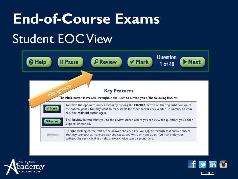 naf.org Student EOC View End-of-Course Exams Navigation