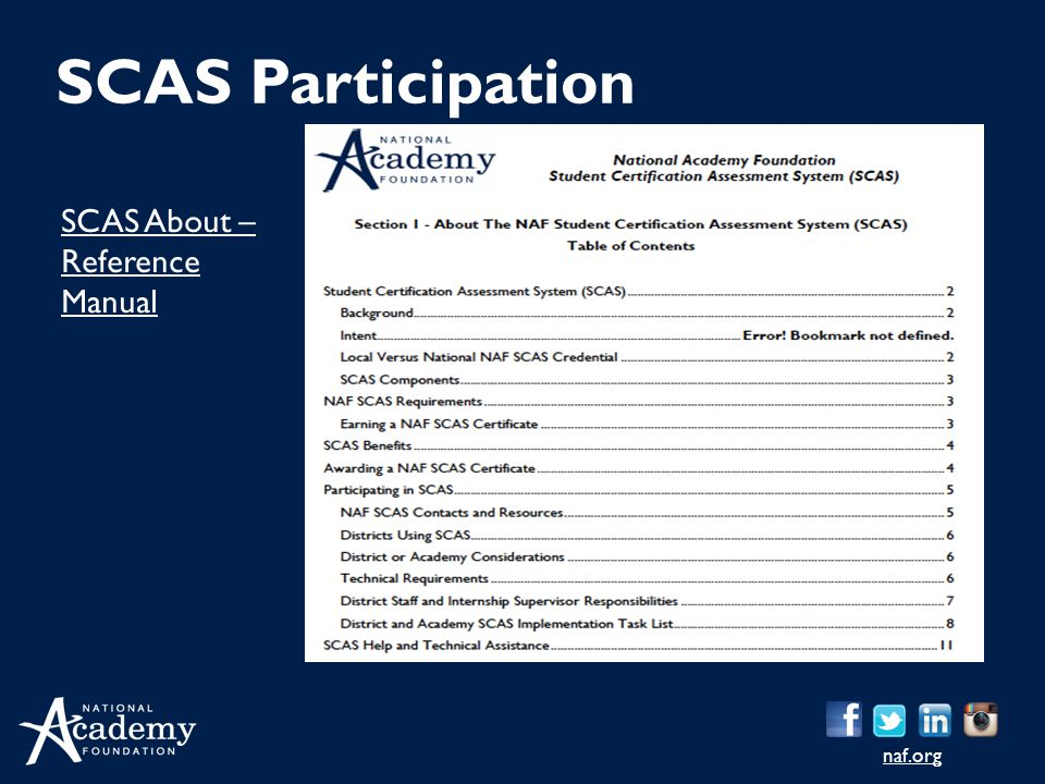 naf.org SCAS About – Reference Manual SCAS Participation