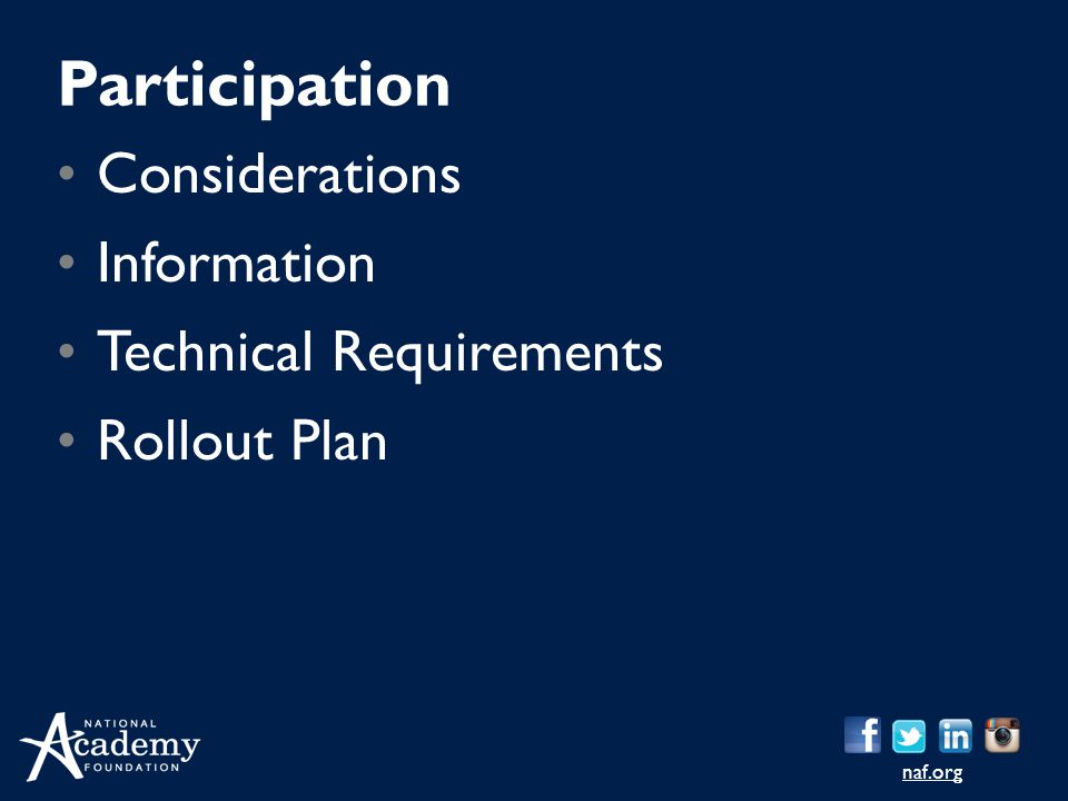 naf.org Considerations Information Technical Requirements Rollout Plan Participation