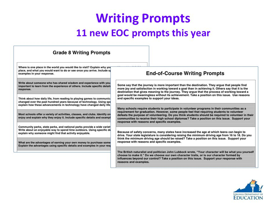 Writing Prompts 11 new EOC prompts this year