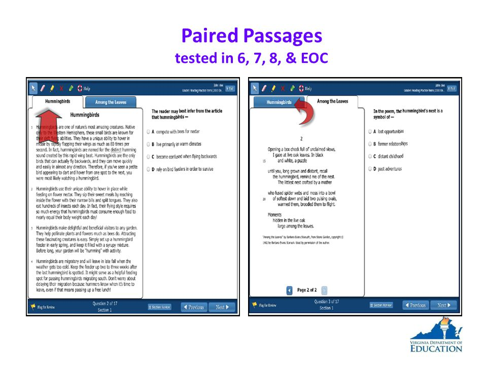 Paired Passages tested in 6, 7, 8, & EOC