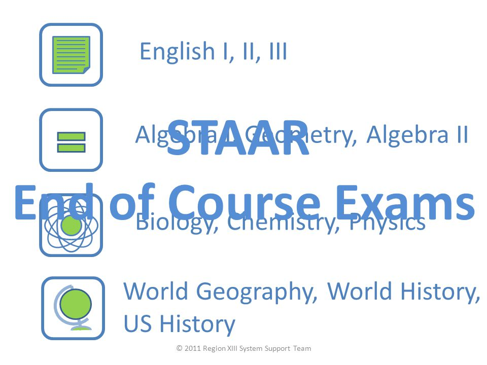 English I, II, III Algebra I, Geometry, Algebra II Biology, Chemistry, Physics World Geography, World History, US History STAAR End of Course Exams ©