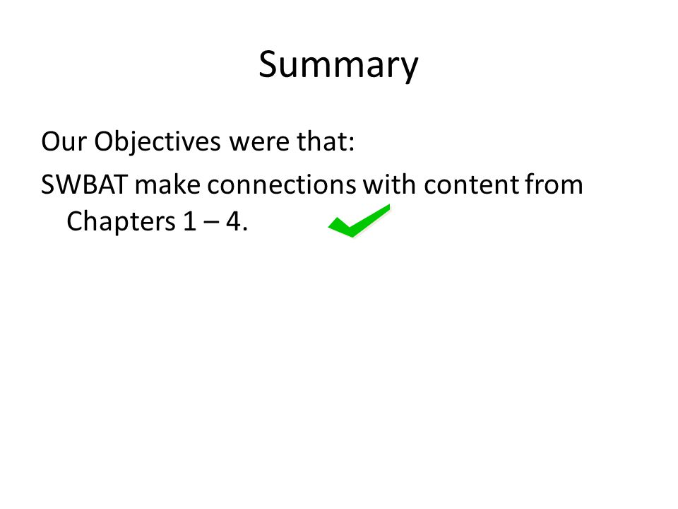 Summary Our Objectives were that: SWBAT make connections with content from Chapters 1 – 4.