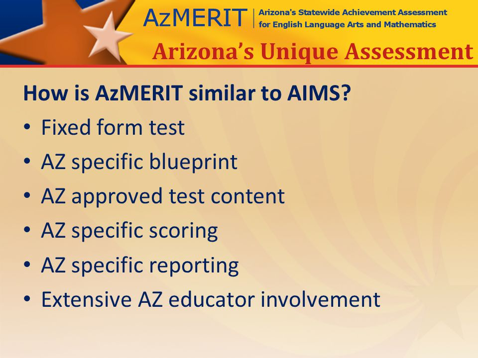 How is AzMERIT similar to AIMS.