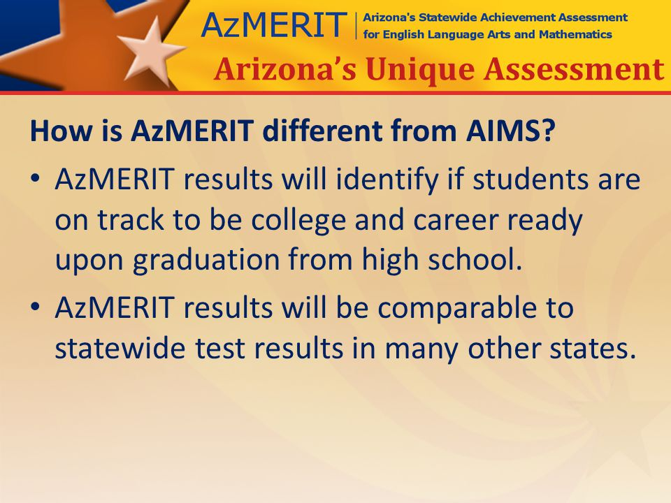 How is AzMERIT different from AIMS.