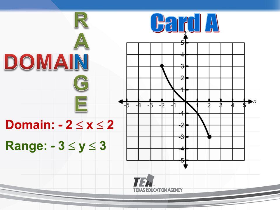 Domain: - 2  x  2 Range: - 3  y  3