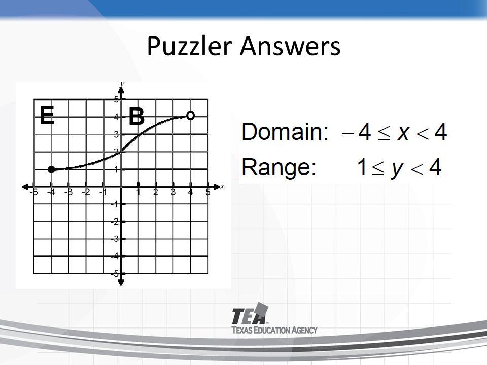 Puzzler Answers E B