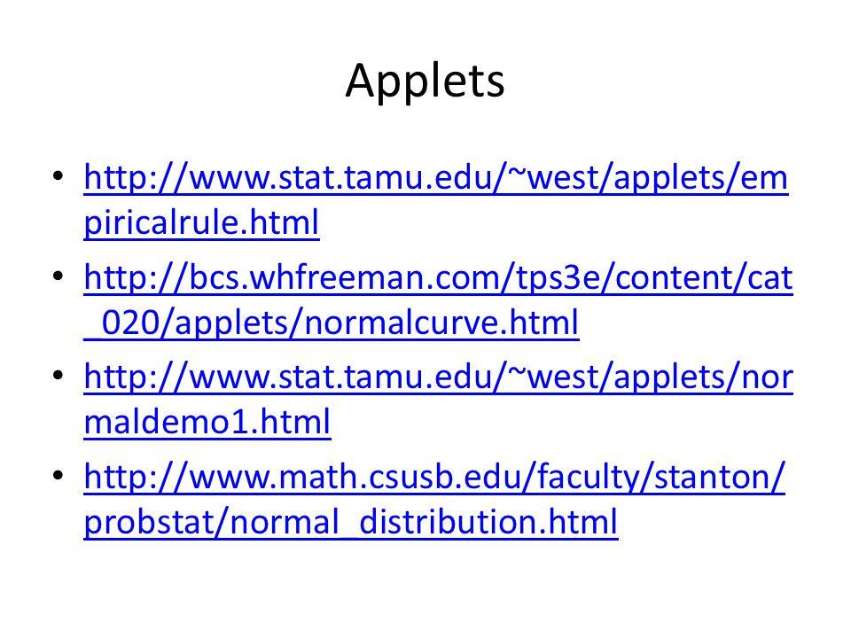 Applets http://www.stat.tamu.edu/~west/applets/em piricalrule.html http://www.stat.tamu.edu/~west/applets/em piricalrule.html http://bcs.whfreeman.com/tps3e/content/cat _020/applets/normalcurve.html http://bcs.whfreeman.com/tps3e/content/cat _020/applets/normalcurve.html http://www.stat.tamu.edu/~west/applets/nor maldemo1.html http://www.stat.tamu.edu/~west/applets/nor maldemo1.html http://www.math.csusb.edu/faculty/stanton/ probstat/normal_distribution.html http://www.math.csusb.edu/faculty/stanton/ probstat/normal_distribution.html