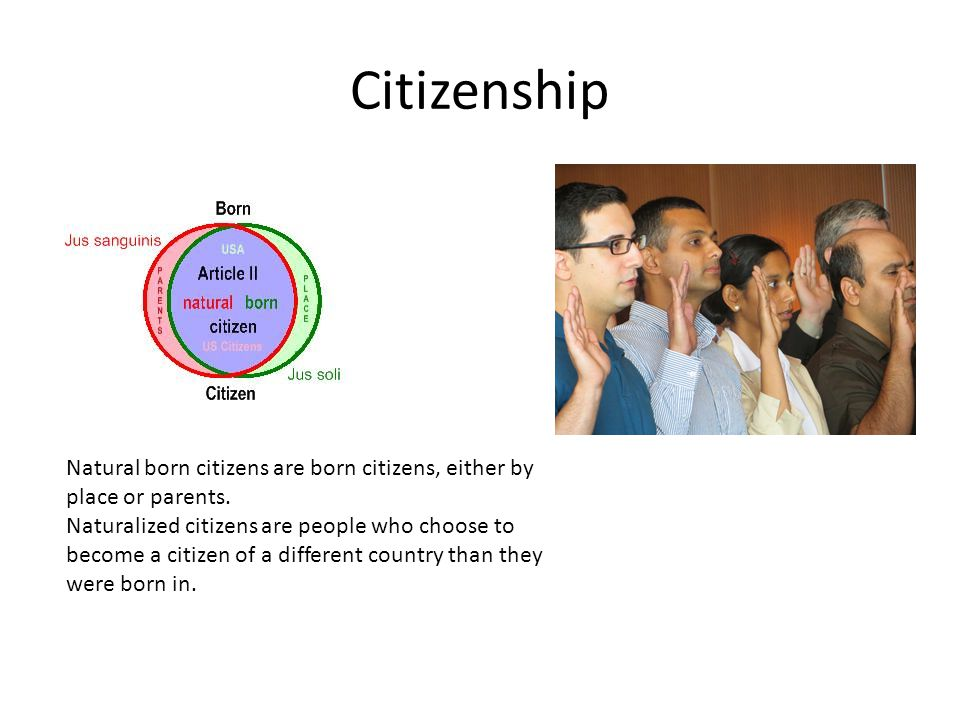 Citizenship Natural born citizens are born citizens, either by place or parents.