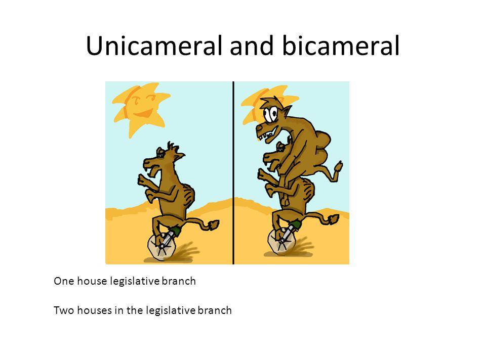 Unicameral and bicameral One house legislative branch Two houses in the legislative branch
