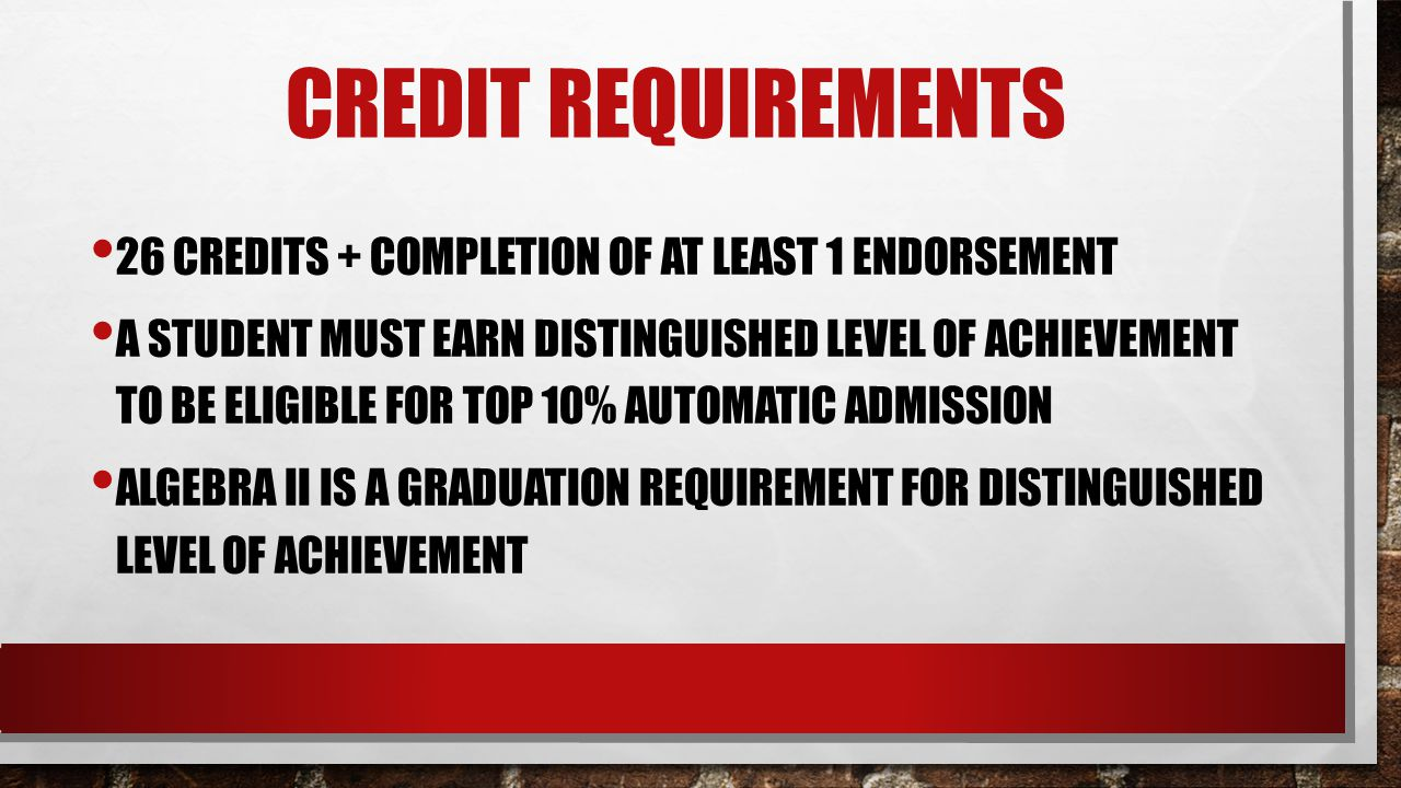 CREDIT REQUIREMENTS 26 CREDITS + COMPLETION OF AT LEAST 1 ENDORSEMENT A STUDENT MUST EARN DISTINGUISHED LEVEL OF ACHIEVEMENT TO BE ELIGIBLE FOR TOP 10