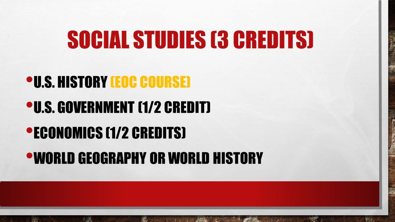 SOCIAL STUDIES (3 CREDITS) U.S. HISTORY (EOC COURSE) U.S. GOVERNMENT (1/2 CREDIT) ECONOMICS (1/2 CREDITS) WORLD GEOGRAPHY OR WORLD HISTORY