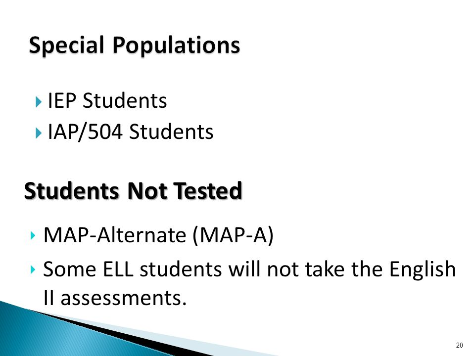  IEP Students  IAP/504 Students 20 Students Not Tested ‣ MAP-Alternate (MAP-A) ‣ Some ELL students will not take the English II assessments.