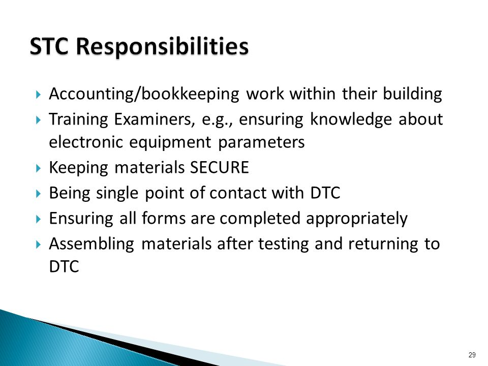 Accounting/bookkeeping work within their building  Training Examiners, e.g., ensuring knowledge about electronic equipment parameters  Keeping mat