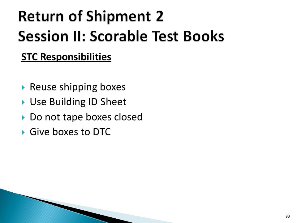STC Responsibilities  Reuse shipping boxes  Use Building ID Sheet  Do not tape boxes closed  Give boxes to DTC 98
