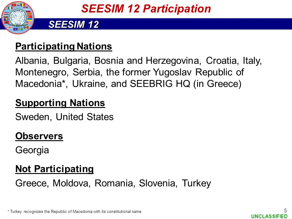 SEESIM 12 UNCLASSIFIED 6 Exercise Design and Execution Schedule