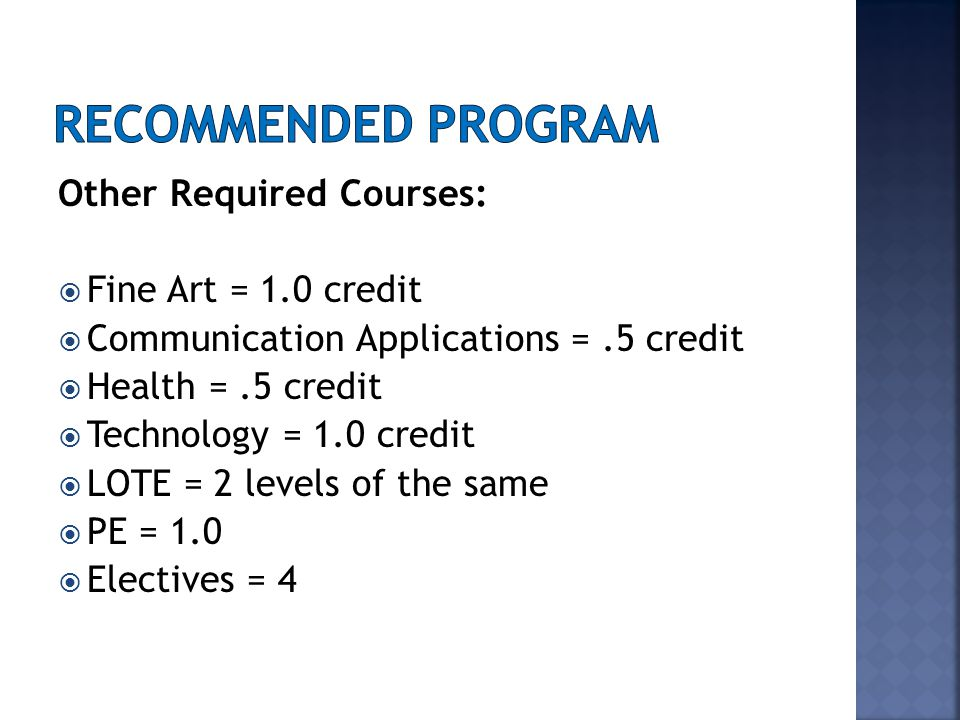 Other Required Courses:  Fine Art = 1.0 credit  Communication Applications =.5 credit  Health =.5 credit  Technology = 1.0 credit  LOTE = 2 levels of the same  PE = 1.0  Electives = 4