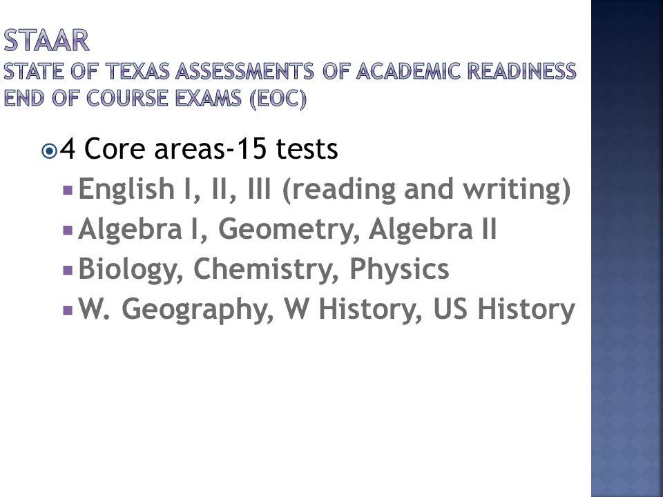  4 Core areas-15 tests  English I, II, III (reading and writing)  Algebra I, Geometry, Algebra II  Biology, Chemistry, Physics  W. Geography, W H