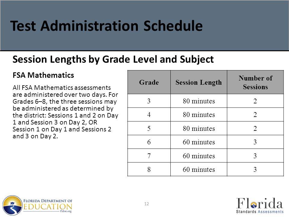 Test Administration Schedule 12 FSA Mathematics All FSA Mathematics assessments are administered over two days.