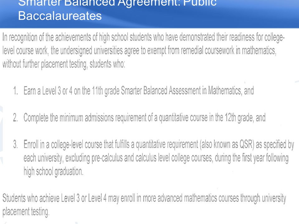 Smarter Balanced Agreement: Public Baccalaureates