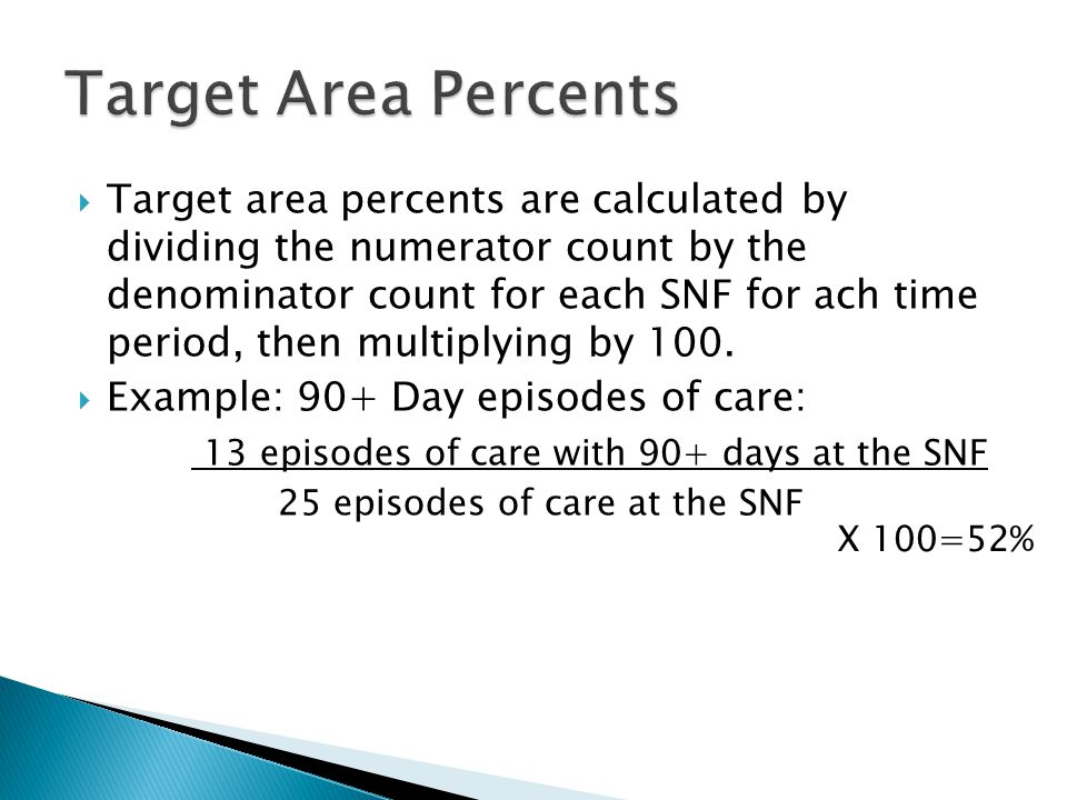  Target area percents are calculated by dividing the numerator count by the denominator count for each SNF for ach time period, then multiplying by 100.