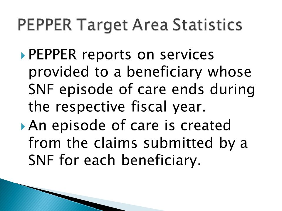  PEPPER reports on services provided to a beneficiary whose SNF episode of care ends during the respective fiscal year.