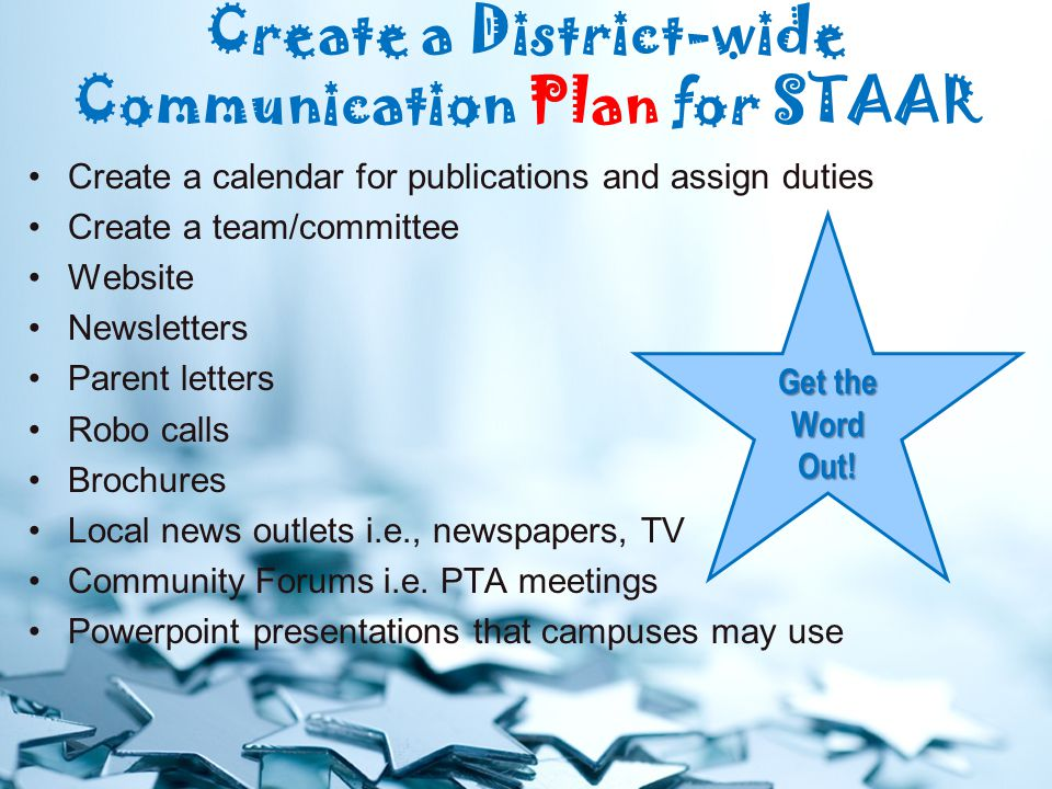 Create a District-wide Communication Plan for STAAR Create a calendar for publications and assign duties Create a team/committee Website Newsletters Parent letters Robo calls Brochures Local news outlets i.e., newspapers, TV Community Forums i.e.
