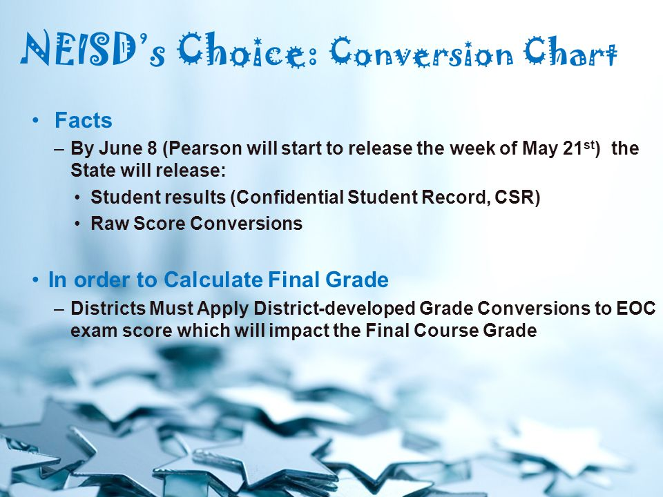 Facts –By June 8 (Pearson will start to release the week of May 21 st ) the State will release: Student results (Confidential Student Record, CSR) Raw Score Conversions In order to Calculate Final Grade –Districts Must Apply District-developed Grade Conversions to EOC exam score which will impact the Final Course Grade NEISD's Choice: Conversion Chart