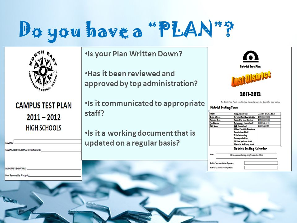 Do you have a PLAN . Is your Plan Written Down.